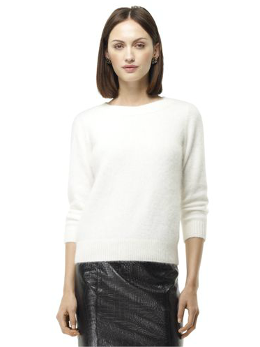 I love the ultrasoft, fuzzy look of Club Monaco's Ainsley Angora Sweater ($99) — doesn't it make you just want to cozy up with a mug of hot cocoa and a book? It's a wintry layering essential with a much more polished edge, and oh yeah, it's under $100.  — Marisa Tom, associate editor