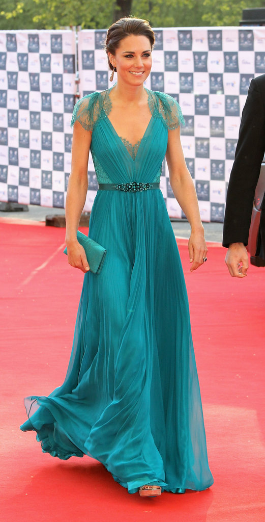 The duchess donned a gorgeous teal Jenny Packham gown, complete with delicate lace cap sleeves, for a red carpet affair for the BOA Olympic concert in London in May 2011.