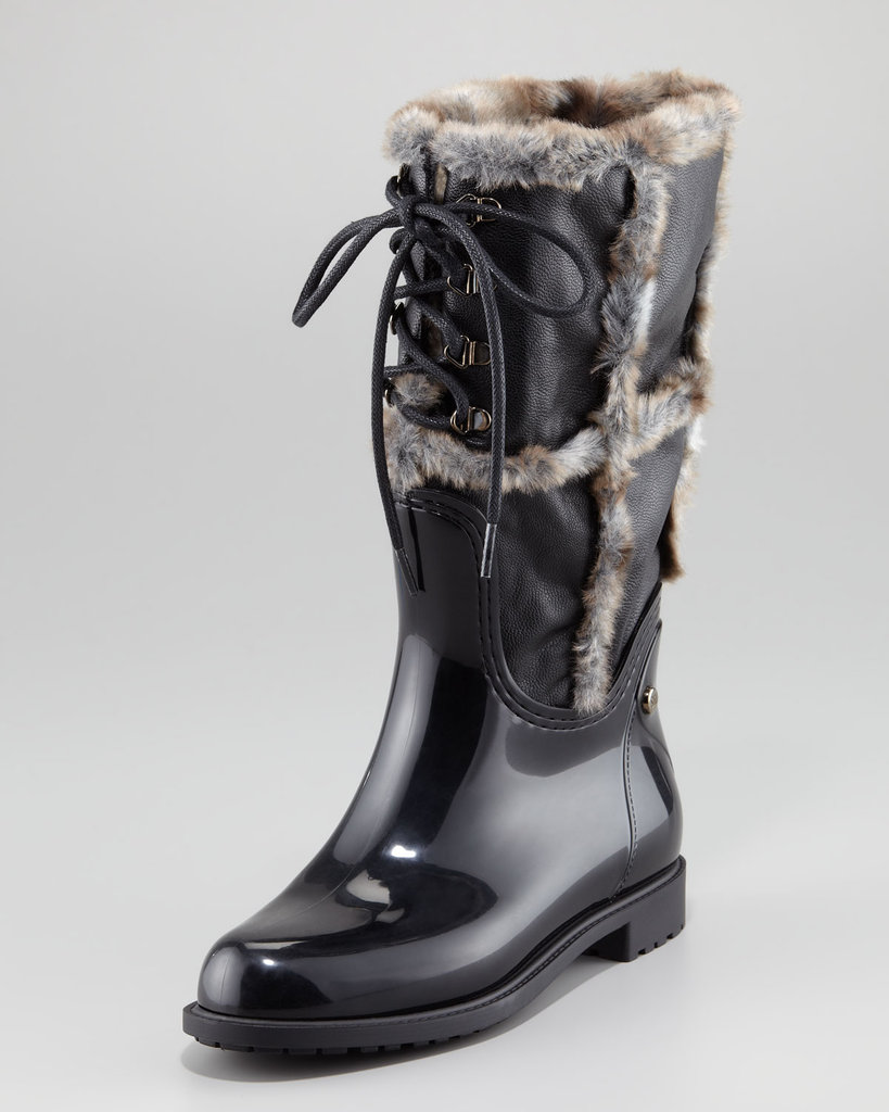 Stuart Weitzman's faux-fur trimmed rain boot ($325) is a luxe Winter-boot option for the styler who doesn't want to sacrifice a plush look to the rainy forecast.