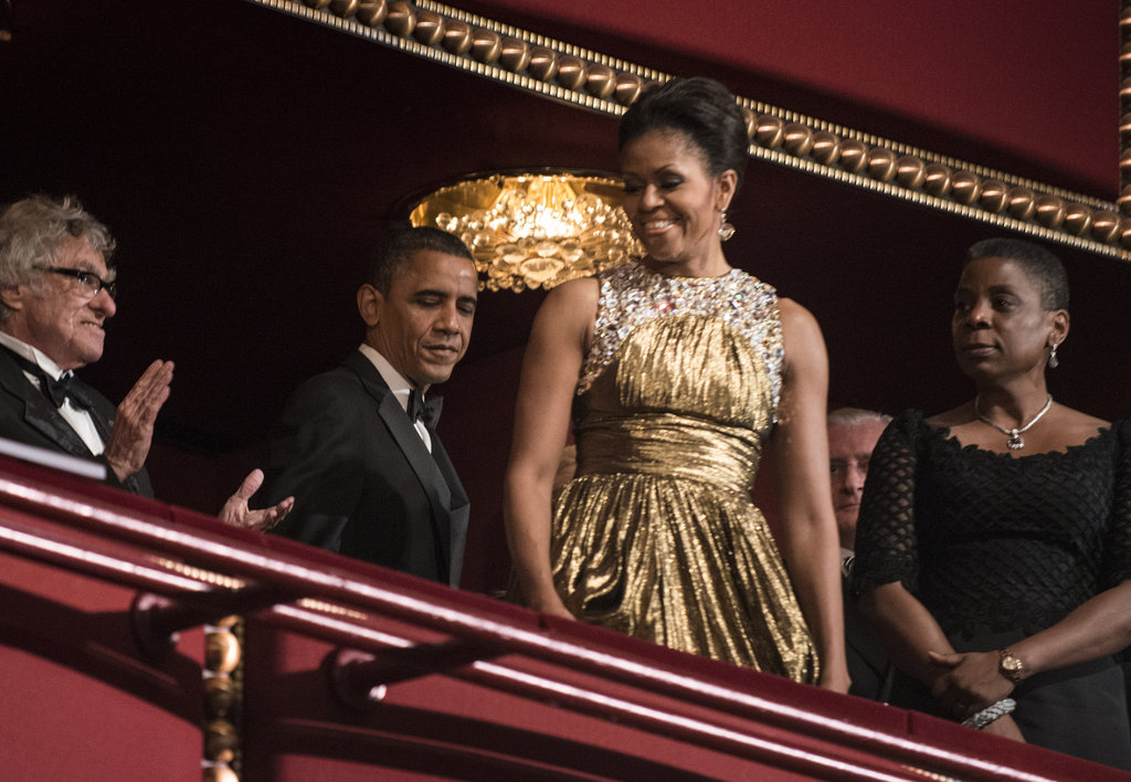 Michelle Obama glowed in gold.