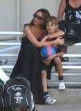Victoria Beckham held onto her son Romeo at an LA soccer game in September.