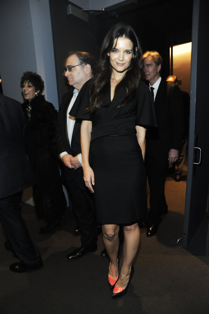 Katie Holmes wore a black dress at the Museum of Modern Art Film Benefit in NYC.