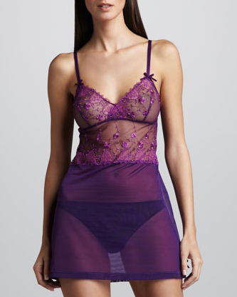 The rich plum hue and pretty embellishments make this La Perla Kiss Kiss Baby Chemise ($152) a very special gift.