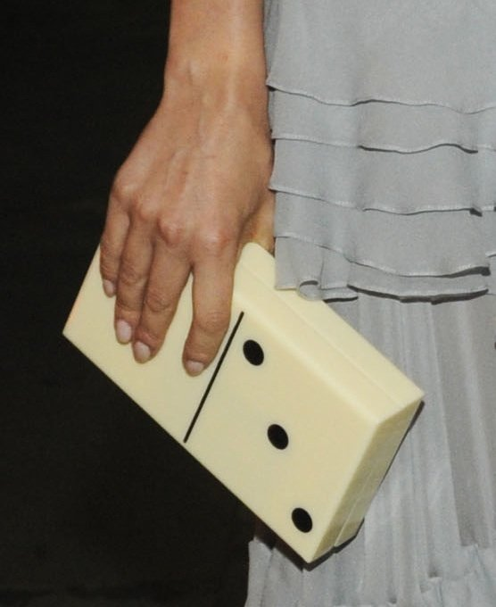 Diane accessorised her look with a fun Charlotte Olympia domino clutch.