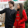 Nina Dobrev Wearing Red Toggle Coat