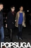Anne Hathaway and Adam Shulman walked hand in hand.