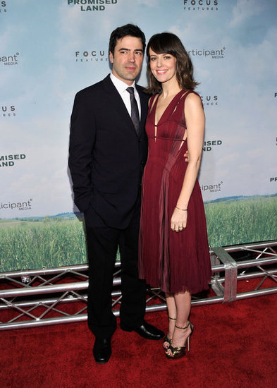 Ron Livingston and Rosemarie Dewitt posed on the red carpet at the  the Promised Land  premiere in NYC.