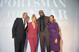 Jay-Z and Beyoncé Knowles celebrated LeBron James's Sports Illustrated sportsman of the year award with LeBron's fiancée, Savannah Brinson.