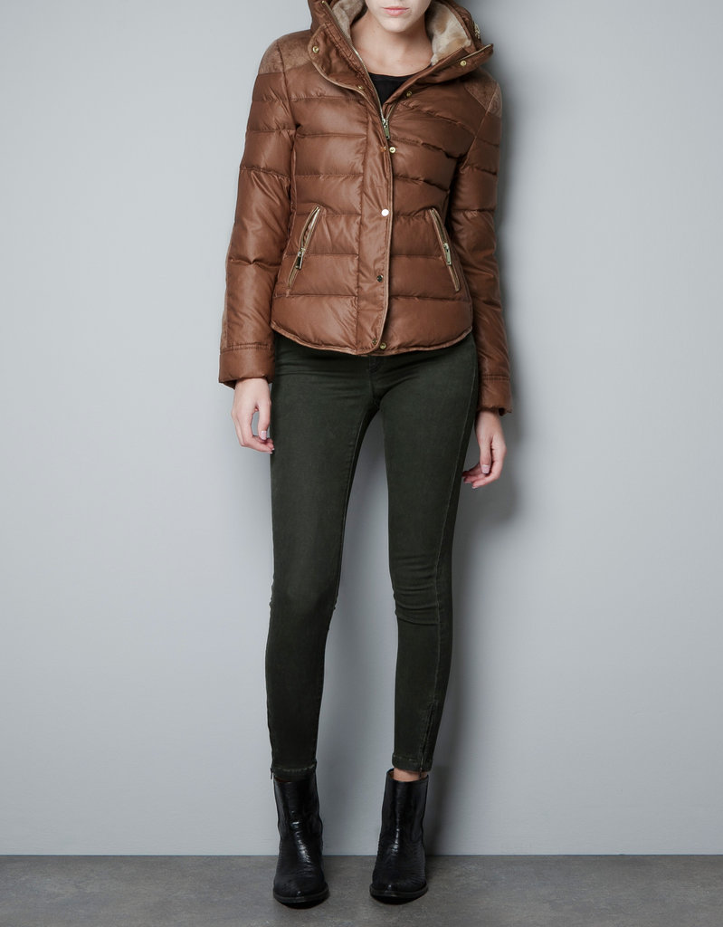 Zara's short puffer jacket ($129) has a rugged brown hue and a faux-fur-lined collar that would look perfect against a red tartan button-down.