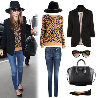 Miranda Kerr in Leopard Sweater at LAX 2012
