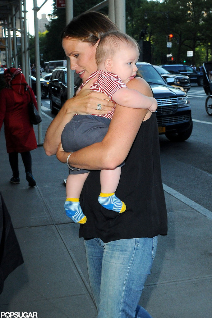 Jennifer Garner held Samuel Affleck close during her trip to NYC in August.