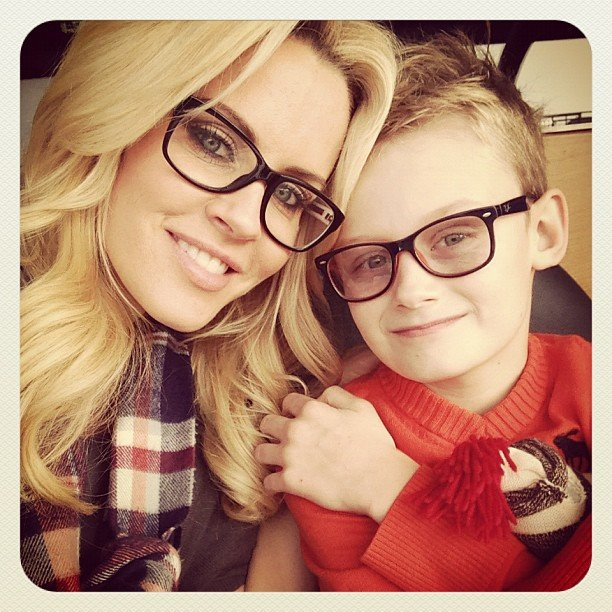 Jenny McCarthy and Evan Asher hit the road for the Chicago Bears game in matching glasses. Source: Instagram user jennyannmccarthy