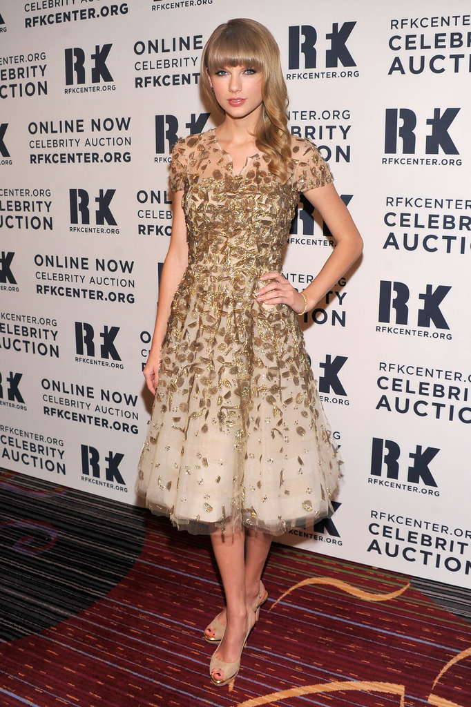 Taylor Swift was glittering in gold at the 2012 Ripple of Hope Gala in New York City on December 3.
