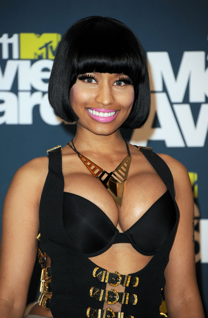 A blunt, cropped bob had Nicki looking more toned down than usual at the 2011 MTV Movie Awards.
