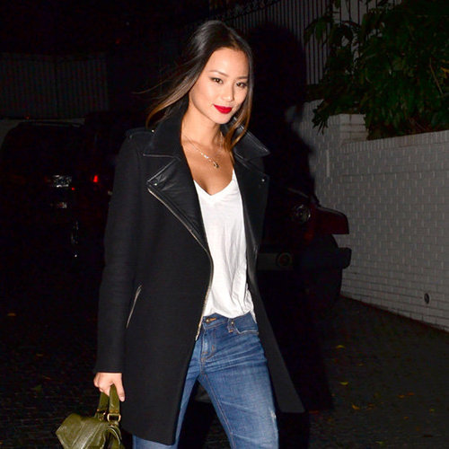 Jamie Chung Carrying Green Bag