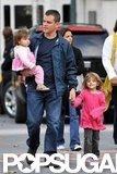 Matt and Luciana Damon took their daughters out in NYC in October 2009.
