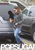 Jennifer Garner sported a gray sweater.
