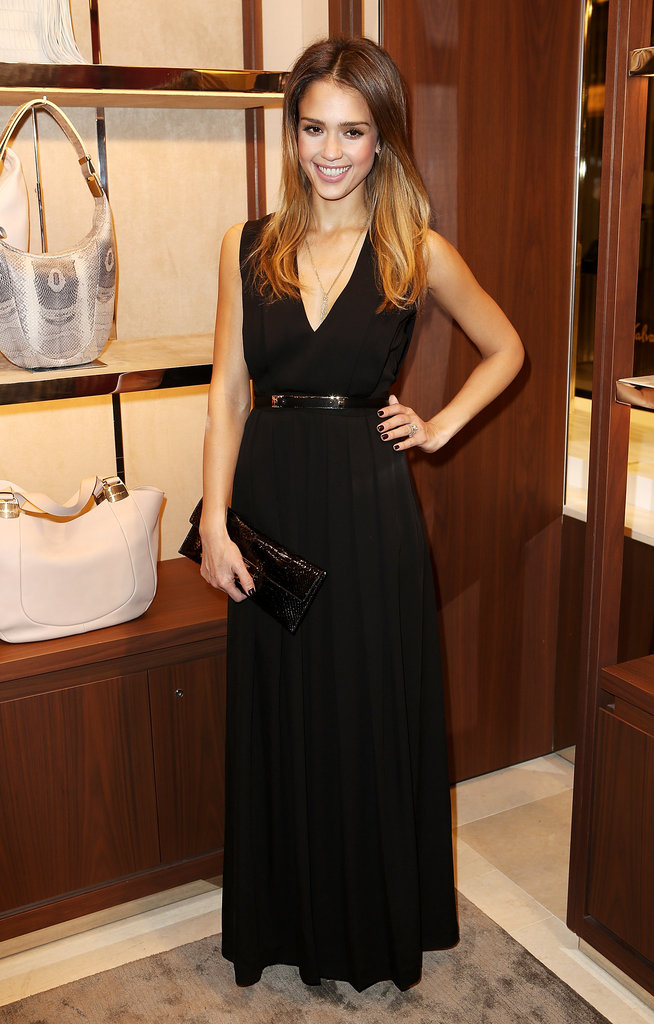 Jessica Alba was understated and gorgeous in a black Ferragamo gown at the label's London flagship launch.