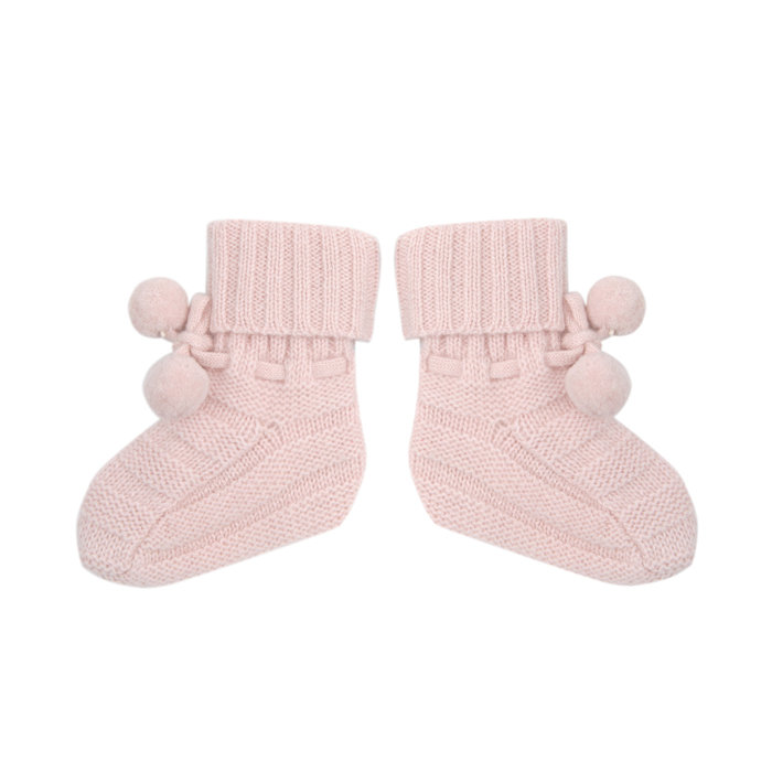 Oscar and Valentine Baby Slipper With Pompoms