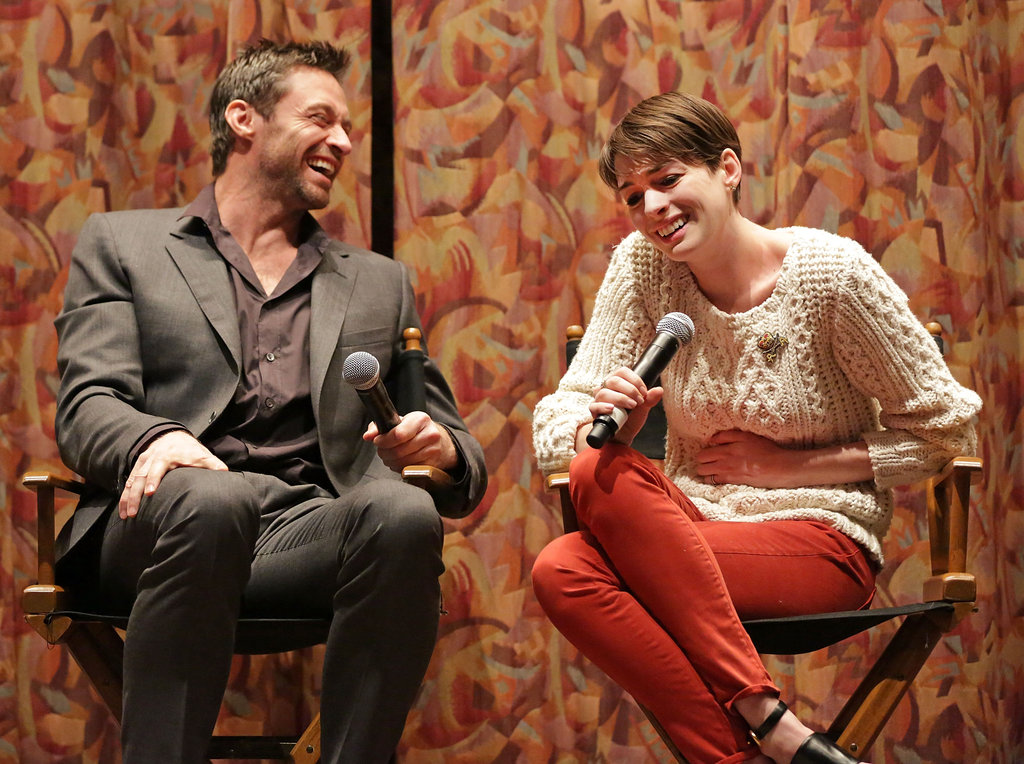 Anne Hathaway and Hugh Jackman spoke at a SAG screening for Les Misérables.
