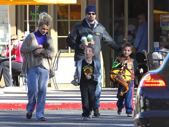 Britney Spears stopped at Starbucks with her boys.