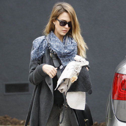 Jessica Alba Wearing Gray Wrap Coat