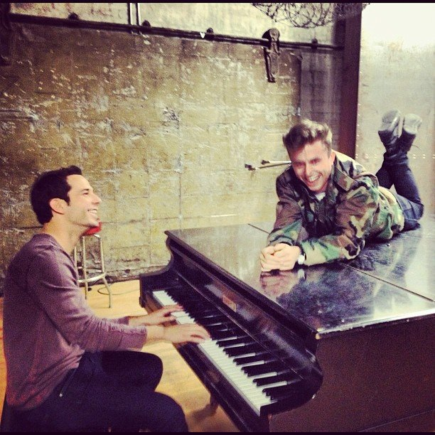 Skylar Astin fooled around with his Cavemen costar, Kenny Wormald. Source: Instagram user skylarastin