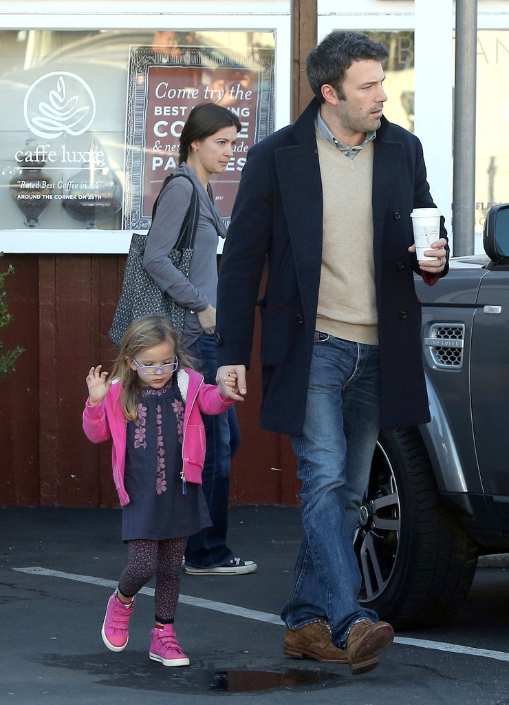 Ben grabbed breakfast on the go with daughter Seraphina earlier today.