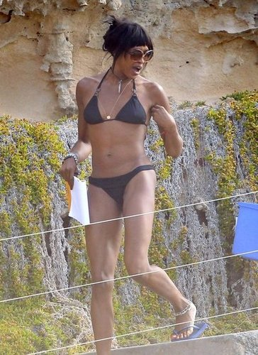 Naomi Campbell showed off her legendary shape while spending time in Ibiza in June 2012.