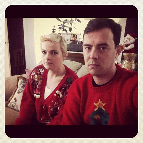 Colin Hanks and Kimmy Gatewood were less than enthused about their holiday sweaters. Source: Instagram user colinhanks