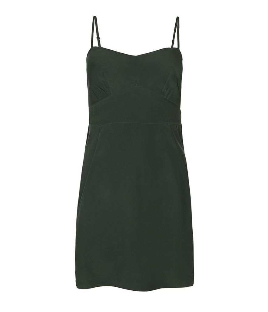 If you're the kind of girl who likes to keep it simple, or if you've always had a thing for Clueless heroine Cher Horowitz's sexy underthing-turned-slipdress number, then try on this AllSaints emerald slip ($90) for a classic, albeit sultry, dress option.