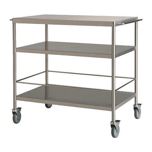 Evoke the utilitarian vibe of a restaurant kitchen with this Kitchen Cart ($159) in stainless steel. The wheels lock in and out of place for easy mobility, while the bottom shelf bracket keeps top-heavy items in place.