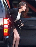 Kristen Stewart hopped out of a car.