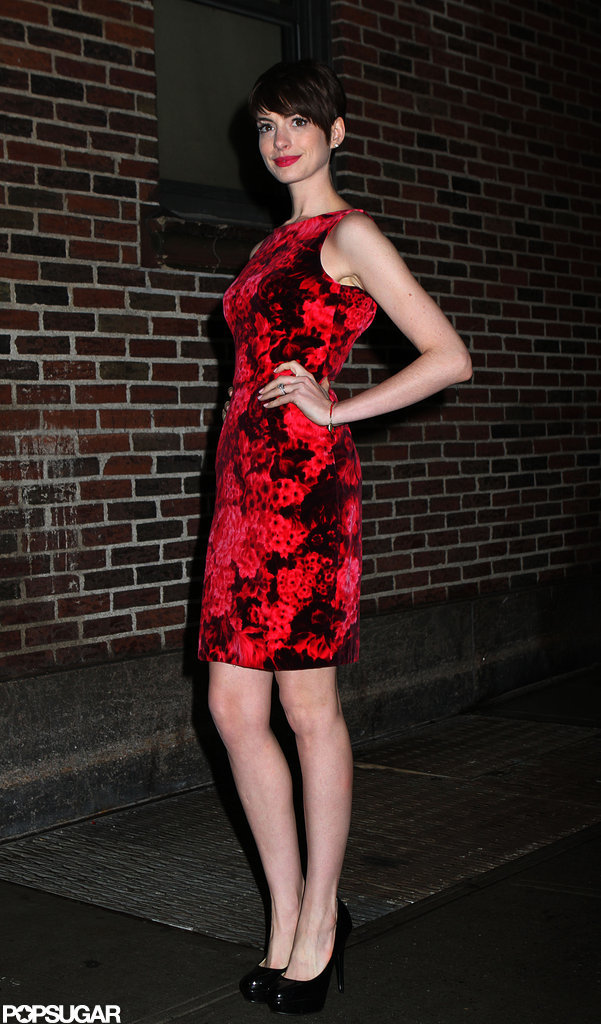 Anne Hathaway wore a floral dress in NYC.
