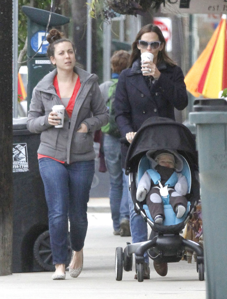 Jennifer Garner got a warm beverage while she pushed Samuel around New Orleans.