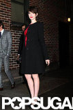 Anne Hathaway arrived at The Late Show.
