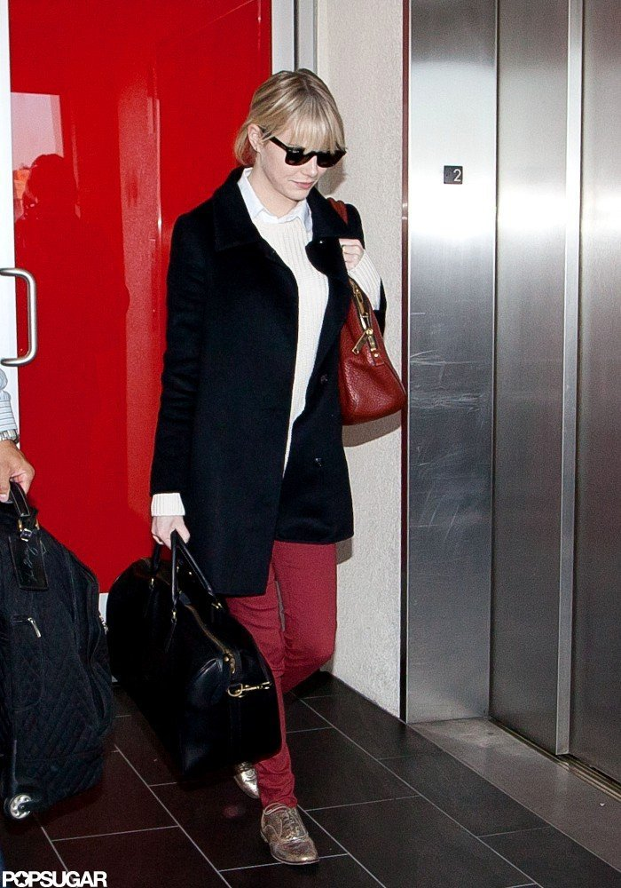 Emma Stone walked through LAX.