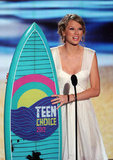 Taylor Swift accepted her Choice Female Artist award at the Teen Choice Awards in August 2011.