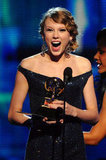 Taylor Swift took the stage to accept a Grammy in January 2010.