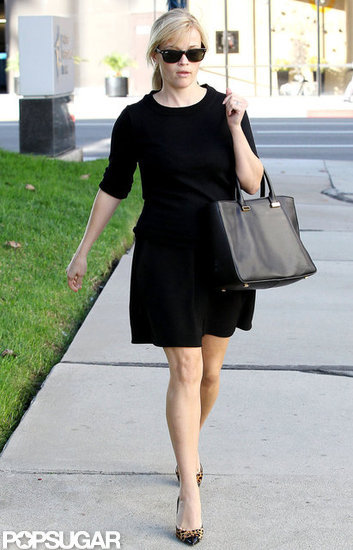 Reese Witherspoon walked out of a building in Beverly Hills.