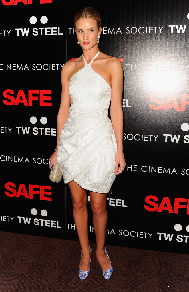 Rosie Huntington-Whiteley made a statement in a white Andrew Gn dress in April.