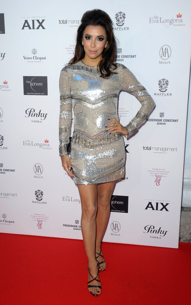 Eva Longoria made an appearance at the Cannes Film Festival in May, wearing a silver sequined Reem Acra mini.