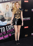 Whitney Port stepped out for the May premiere of What to Expect When You're Expecting in a sizzling black leather Izmaylova minidress.