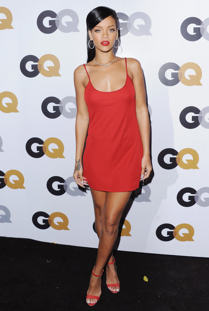 Rihanna looked red-hot in a body-hugging Calvin Klein mini at the GQ Men of the Year party in November.