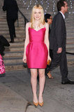 Dakota Fanning was pretty in pink at the Tribeca Film Festival in April, wearing a brightly colored Lanvin mini with gold accessories.