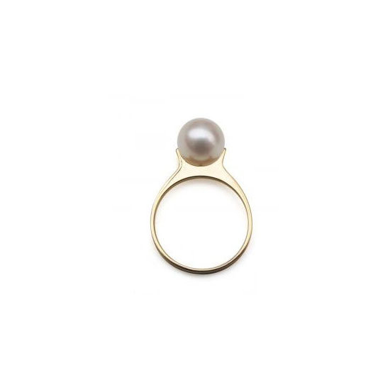 18 carat yellow gold and pearl ring, approx $444, Saskia Diez