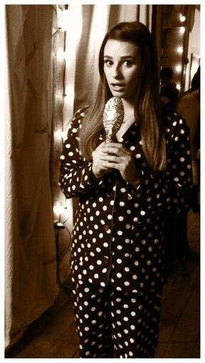 Lea Michele pajama-suited up for Glee. Source: Twitter user msleamichele