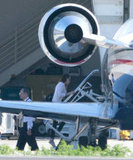 Kristen Stewart boarded a plane in LA.