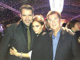 Victoria Beckham posed with Simon Fuller at the Spice Girls' Viva Forever musical event. Source: Twitter user victoriabeckham