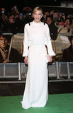 Cate Blanchett wore a white gown.